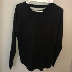 Black sweater with lace up back